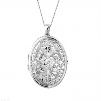Diamond Lockets - 0.40 carat diamond design medallion in white gold