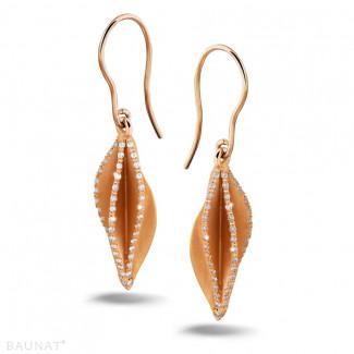 Earrings - 0.45 carat diamond design earrings in red gold