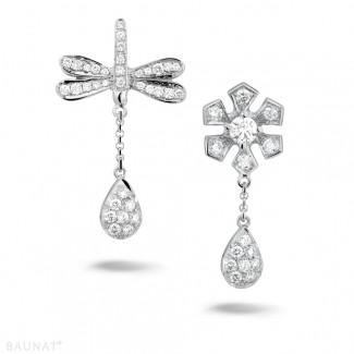 Pas-de-Deux - 0.95 carat diamond flower & dragonfly earrings in white gold