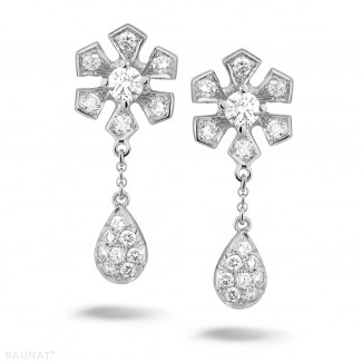 Platinum Diamond Earrings - 0.90 carat diamond flower earrings in platinum