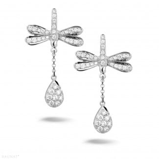 Pas-de-Deux collection - 0.70 carat diamond dragonfly earrings in white gold