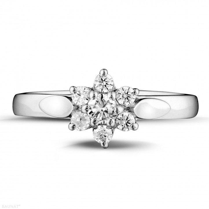 0.30 carat diamond flower ring in white gold