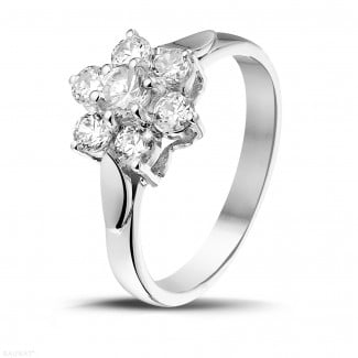 - 1.00 carat diamond flower ring in white gold