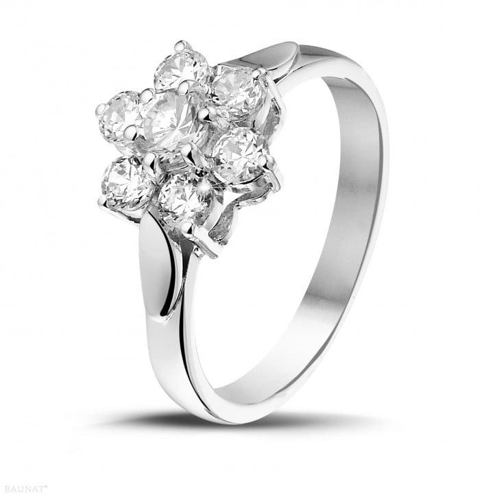 1.00 carat diamond flower ring in white gold