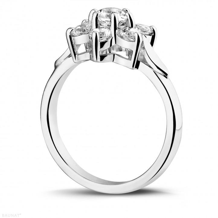 1.15 carat diamond flower ring in white gold