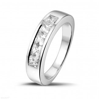 Men's rings - 1.35 carat white golden eternity ring with princess diamonds