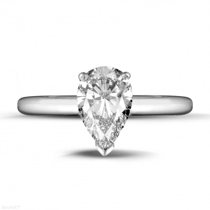 1.50 carat solitaire ring in white gold with pear shaped diamond
