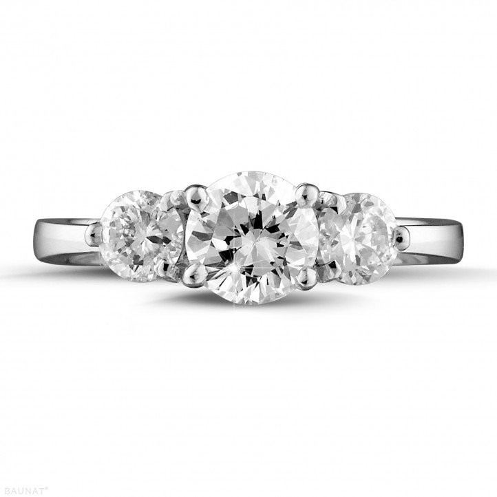 1.50 carat trilogy ring in white gold with round diamonds