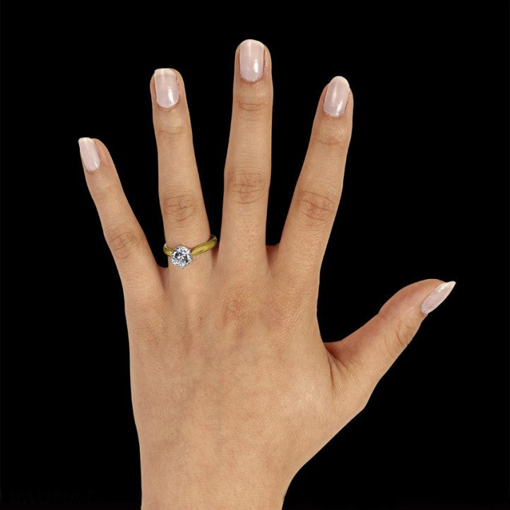 1.50 carat solitaire diamond ring in yellow gold