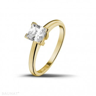 0.75 carat solitaire ring in yellow gold with princess diamond