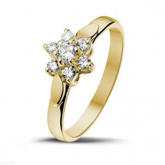 Yellow Gold Diamond Engagement Rings - 0.30 carat diamond flower ring in yellow gold