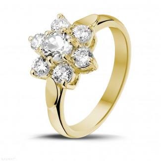 1.15 carat diamond flower ring in yellow gold