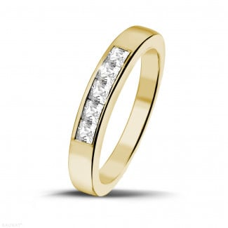0.50 carat yellow golden eternity ring with princess diamonds