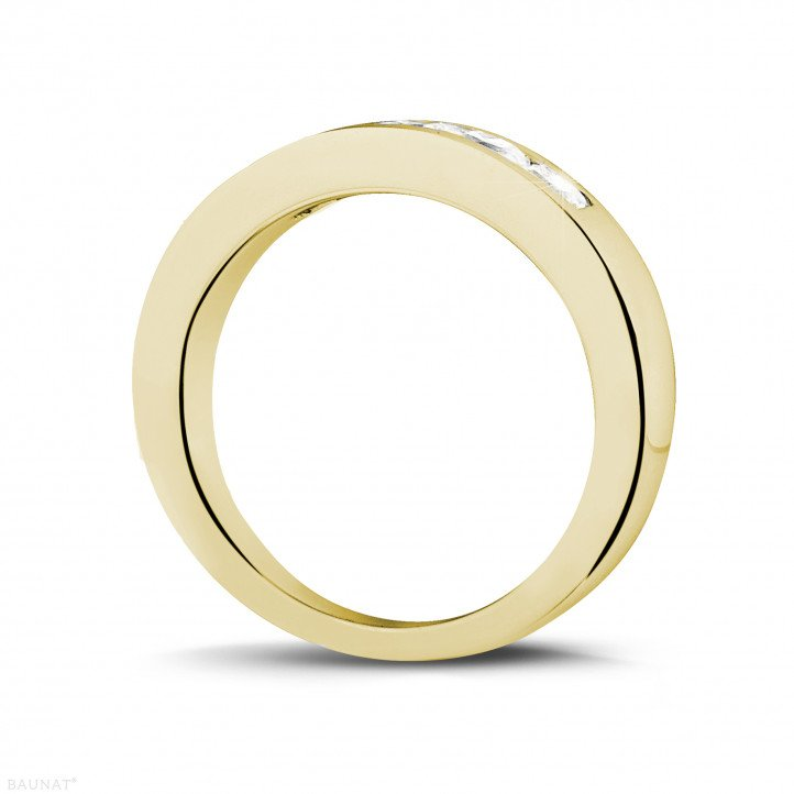 0.75 carat yellow golden eternity ring with princess diamonds