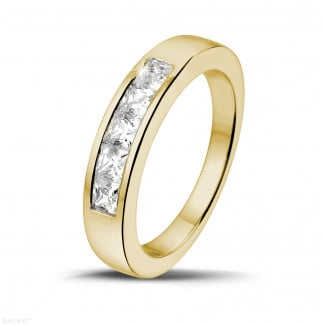 Men's rings - 0.75 carat yellow golden eternity ring with princess diamonds