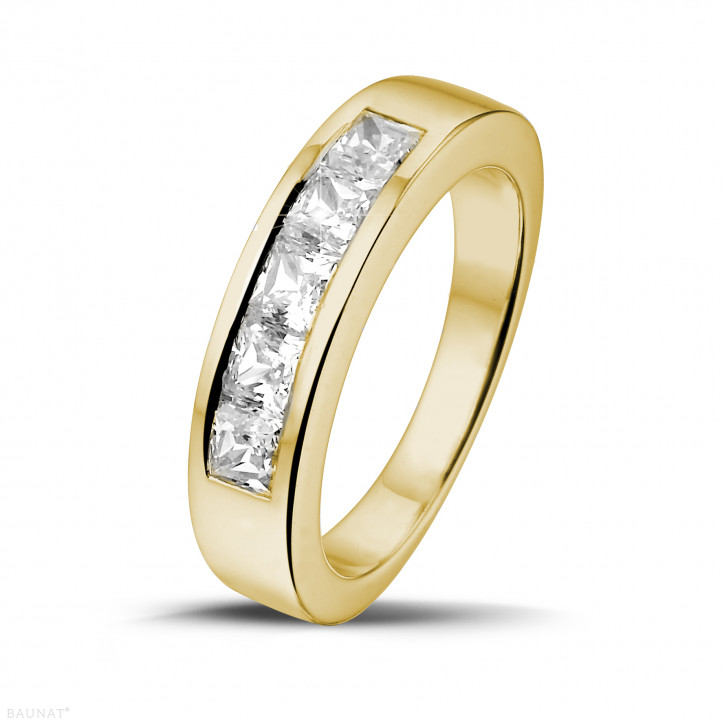 1.35 carat yellow golden eternity ring with princess diamonds