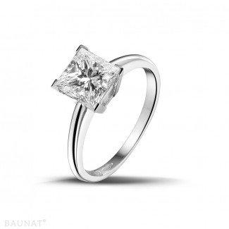 1.50 carat solitaire ring in platinum with princess diamond
