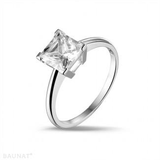 2.50 carat solitaire ring in platinum with princess diamond