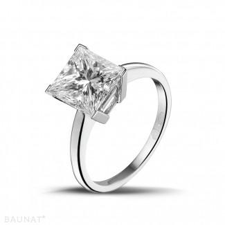 3.00 carat solitaire ring in platinum with princess diamond