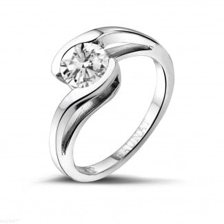 1.00 carat solitaire diamond ring in white gold