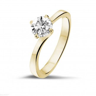 - 0.70 carat solitaire diamond ring in yellow gold