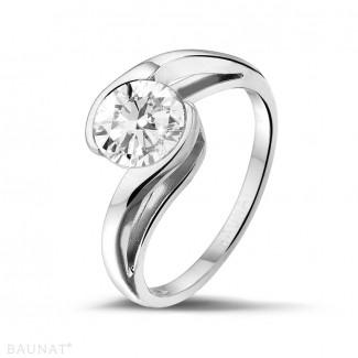 Platinum Diamond Engagement Rings - 1.25 carat solitaire diamond ring in platinum