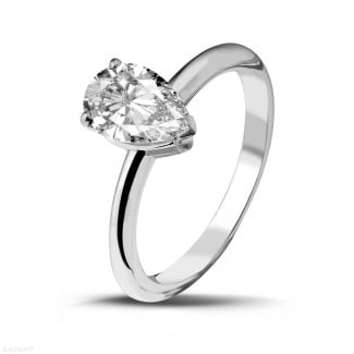 - 1.50 carat solitaire ring in platinum with pear shaped diamond