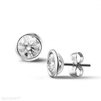 鑽石耳環 - 2.00克拉白金鑽石耳釘