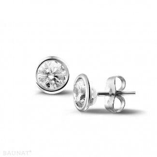 圆形钻石耳环 - 1.00克拉白金鑽石耳釘