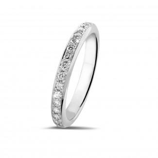 熱賣 - 0.30克拉白金密鑲鑽石戒指(半環鑲鑽)