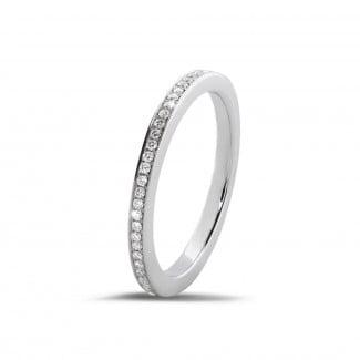 可疊戴戒指 - 0.22克拉白金密鑲鑽石戒指