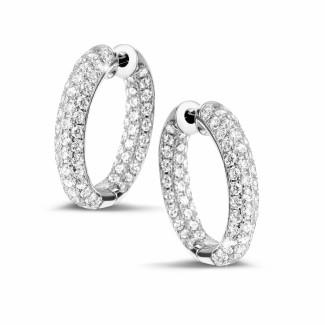 鑽石耳環 - 2.15 克拉白金密鑲鑽石耳環