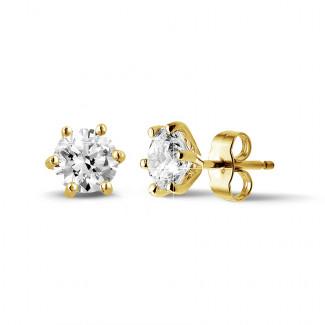 鑽石耳環 - 2.00 克拉 6 爪黄金鑽石耳釘