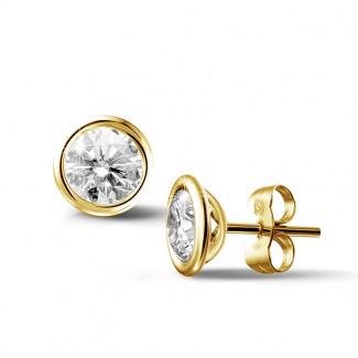 鑽石耳環 - 2.00 克拉黄金鑽石耳釘