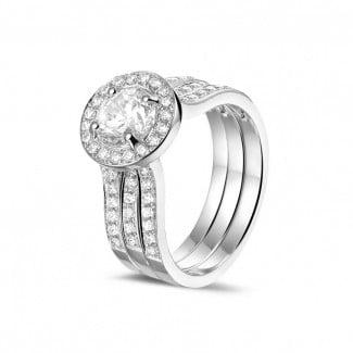 鑽石求婚戒指 - 1.00克拉白金單鑽戒 – 戒托密鑲碎鑽
