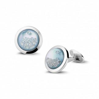 鑽石抽扣 - 白金藍色珍珠母圓鑽袖扣