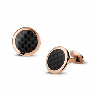 鑽石抽扣 - 玫瑰金石碳色袖扣