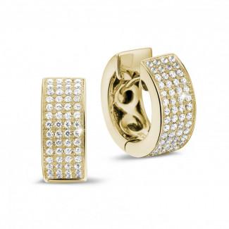鑽石耳環 - 0.75克拉黄金密鑲鑽石耳環
