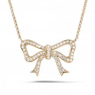 鑽石項鍊 - 玫瑰金鑽石蝴蝶結項鍊
