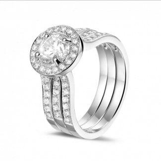 鑽石戒指 - 1.00克拉白金單鑽戒 – 戒托密鑲碎鑽