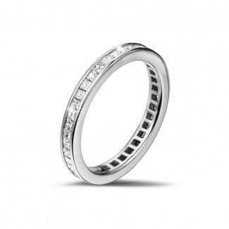 鑽石戒指 - 0.90克拉公主方鑽白金永恆戒指