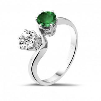 鑲嵌紅寶石、藍寶石和祖母綠的鑽石珠寶 - 你和我1.00克拉雙宿雙棲祖母綠寶石白金鑽石戒指