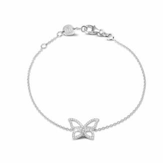 女士手鍊 - 設計系列0.30克拉白金密鑲鑽石蝴蝶手鐲
