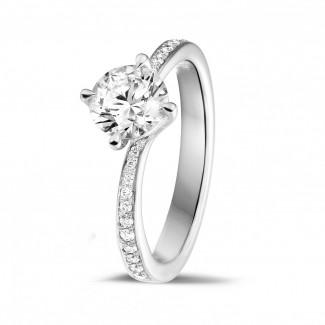 鑽石戒指 - 1.00克拉白金單鑽戒指 - 戒托群鑲小鑽