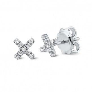 鑽石耳環 - 字母X白金鑽石耳環