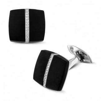 鑽石抽扣 - 白金縞瑪瑙鑽石袖扣
