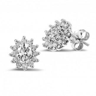 鑽石耳環 - 2.00克拉白金橢圓形鑽石耳釘