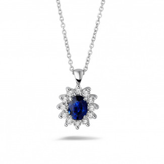 鑽石吊墜 - 白金橢圓形藍寶石項鍊
