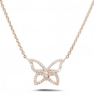 鑽石項鍊 - 設計系列0.30克拉鑽石玫瑰金項鍊
