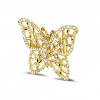 鑽石項鍊 - 設計系列 0.90克拉碎鑽密鑲黃金胸針